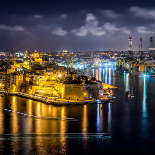 Malta harbour at night